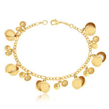 "Gold Filled Bracelet Women Fashion Jewelry Pearl Charms Beaded 7.5"" Pulsera Oro"