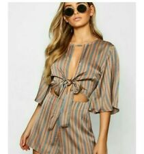 BNWT BOOHOO SIZE 8 AMBER & BLUE STRIPED SATIN PLAYSUIT. TIE FRONT. ANGEL SLEEVES