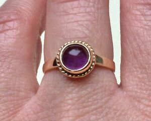 Vintage Ring Amethyst 9ct gold cabochon ring or Sapphire 9ct gold 3 stone ring