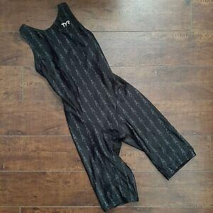 TYR Fusion 2 Aerofit Kneeskin Swimsuit Black Gray Size 30