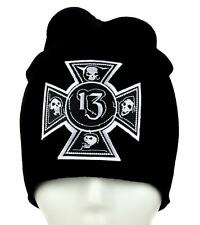 Number 13 Iron Cross Skull Beanie Alternative Clothing Knit Cap Lucky Death Rock