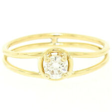 14k Oro Amarillo Macizo 0.21ctct Diamante Brillante Redondo Solitario ABIERTO
