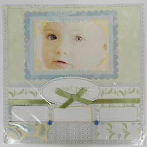 Baby Premade Scrapbook Page 12x12 Sweet Pea Light Blue Green with Ribbon Pockets