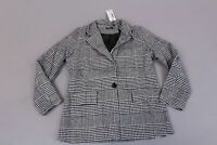 Boohoo Women's Check Wool Look Blazer Coat SH3 Black Size US: 6 NWT