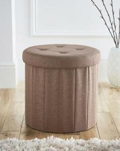 Home Furniture Sturdy Storage Organiser Round Natural Ottoman Footstool Seat Lid