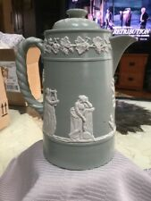 Antique James Dudson Staffordshire Green Jasperware Coffee Pot