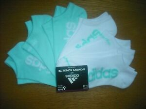 Womens NWT ADIDAS Socks No-Show 6prs White Mint Green Foot-Hugging SOFT Sz:M-L