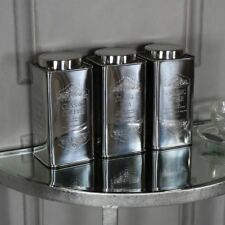 Silver metal tea coffee sugar storage container cannisters kitchen accessories