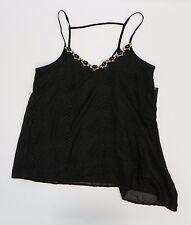 XOXO Juniors Womens Cami Embellished Asymmetrical Hem Tank Top Black Print S