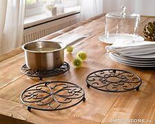 Elegante Design Metall Untersetzer Set Küche Kochen Topf Herd Antik Landhaus