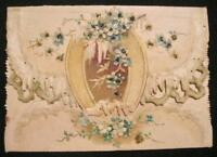 May Joys For Thee Be Many Antique Valentines Day Card Blue Embossed Flowers (O)