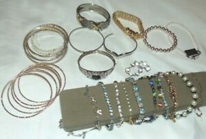 Lot of 30 BANGLE Hematite Magnetic BRACELETS Fashion Rhinestones MORE