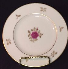 Lenox Rhodora Bread Plate - Discontinued Pattern Gold Leaves with Pink Rose