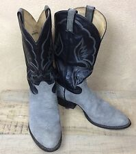 Tony Lama Boots Gray Black Men's Western Cowboy Leather Boot Size 11D Style 6253