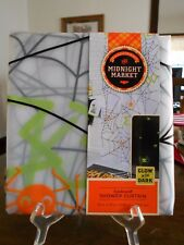 "Spiderweb Shower Curtain 70"" W x 70"" L Midnight Mkt. Glow in the Dark Orange !"