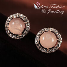 18K Rose Gold GP Simulated Opal Exquisite Halo Stud Earrings Fashion Jewellery