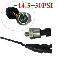 Stainless Steel Vacuum Pressure Transducer -14.5~30PSI Fits Oil Fuel Air Water