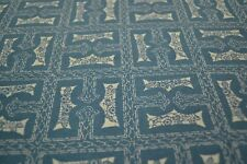 Japanese Silk Fabric deep sky blue with white geometric/floral design 1425