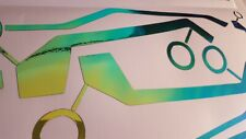 TRON STYLE HELMET STICKERS CHROME FLIP GOLD GREEN TO BLUE DECALS MOTORCYCLE GIFT
