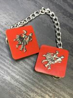 Ladies 1950's SiLver Tone Red At The Hop Dancing Clip Scarf Clip