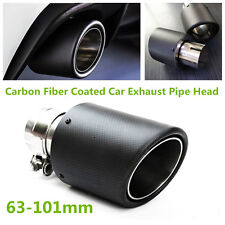 Stylish 100% Real Carbon Fiber Stainless Steel Car Exhaust End Pipe Tip 63-101mm