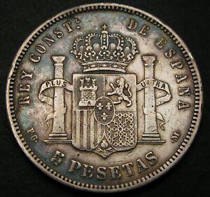 SPAIN 5 Pesetas 1890 (90) PG-M - Silver - Alfonso XIII. - VF- - 1130