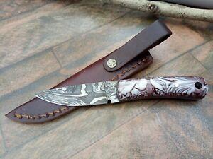MH KNIVES CUSTOM HANDMADE DAMASCUS STEEL FULL TANG HUNTING/SKINNER KNIFE MH-365