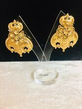Indian Bollywood Style Big Brown Stone Earring Gold Plated Antique Jewellery New