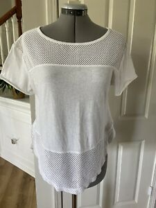 Free People FP Movement Hourglass Mesh T Shirt X-Small White Short Sleeve XS