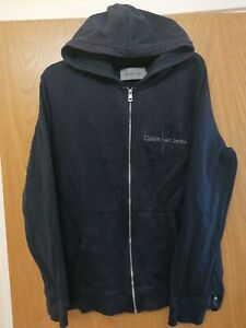 CALVIN KLEIN EMBROIDERED EMBOSSED ZIPPED HOODIE SIZE UK XXL NAVY BLUE UNISEX