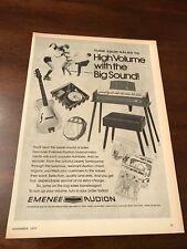1972 VINTAGE 8X11 TOY PRINT Ad EMENEE/AUDION CHORD ORGAN GAY 90'S SONGS GUITAR