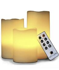 Remote Control Flameless Faux Candles LED 3pk. Battery Operated Pillar Set