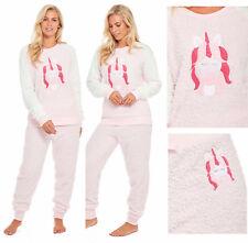 Ladies Unicorn Pyjamas Fleece Pajamas Womens Pink PJs Winter Warm Snuggle Shaggy