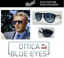 Occhiali Sole Persol 0714 714 FOLDING Sunglasses Steve McQueen CUSTOM 95/S3 BLUE