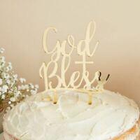 MIRRORED GOLD CAKE TOPPER GOD BLESS HOLY COMMUNION BAPTISM CHRISTENING