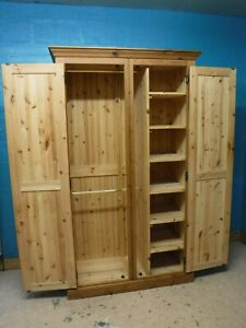 HEAVY SOLID CHUNKY WOOD DOUBLE 2DOOR WARDROBE WITH SHELVES- more listed SEE SHOP