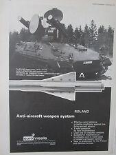 12/1973 PUB EUROMISSILE AEROSPATIALE MBB ROLAND ANTI AIRCRAFT WEAPON GIAT AMX AD