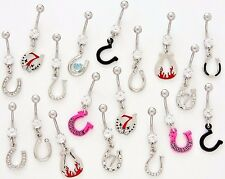 5 CZ Dangle Belly Button Rings 14g Gemstone Body Jewelry Horseshoes Naval Fancy
