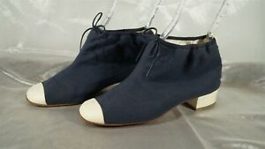 CHANEL Runway Sample Navy Canvas & White Leather Cap Toe Ankle Booties Size 38