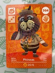 Animal Crossing Amiibo Card - Phineas 304 - Genuine Mint - Series 4