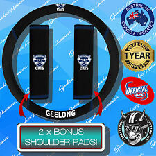 GEELONG CATS CAR STEERING WHEEL COVER + SEAT BELT COVERS, OFFICIALS AFL!