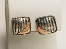 "Bold Bali Styled 1/2"" Sterling Silver Two Toned Ribbed Square Post Earrings"