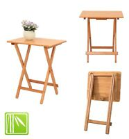 Folding Bamboo Bedside Table Foldable TV Table Tray Work Reading Portable Tea OZ