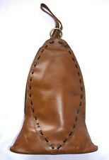 Vintage Guild Creations Bell Shaped Brown Leather Handbag Purse w Whip Stitching