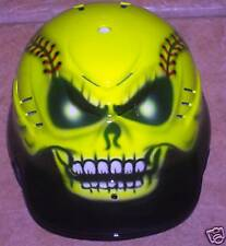 AIRBRUSHED SKULL SOFTBALL BATTING HELMET NEW W/NAME