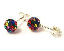 Sterling Silver 5mm Multi-Colour Shamballa Crystal Ball Stud Earrings