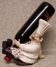 Wine Bottle Holder Seasonal Thanksgiving Sculpture Chef Sitting NEW