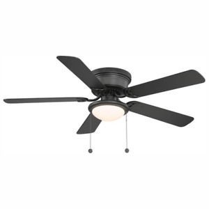 Black Ceiling Fan 52 in. LED Indoor Reversible Blades 3-Speed Flush Mount Quiet