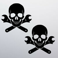 x2 Skull Funny Sticker Vinyl Decal Car Bike Van Bones Tool Box Bumper Window JDM