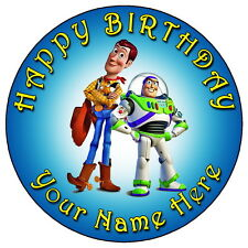 "TOY STORY WOODY & BUZZ - 7.5"" PERSONALISED ROUND EDIBLE ICING CAKE TOPPER"